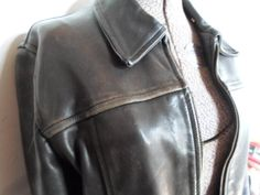 Leather Jacket Distressed Leather Ladies Leather by AllVintageLady, $40.00