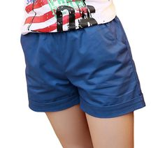 Summer Women Shorts, Elastic Mid-waist, Solid Candy Color, Casual Sportswear