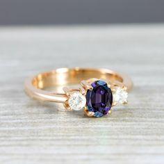 Oval Alexandrite and diamond rose, white, yellow gold engagement ring handmade