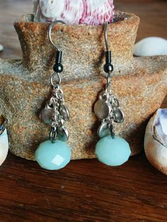 Washed Ashore Earrings - Tide Shaped - Mint and Silver Coin Hypoallergenic Earrings