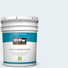 BEHR Premium Plus 5-gal. #BL-W4 Ethereal White Satin Enamel Interior Paint