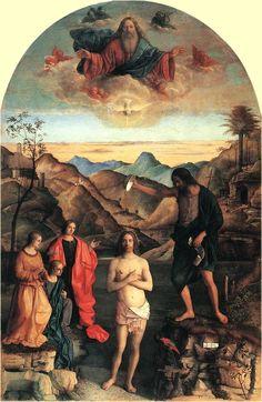 """Giovanni Bellini: Taufe Christi, Santa Corona in Vicenza. Der sich öffnende Himmel ist ein Archetypus und verweist auf Geburt und Neugeburt sowie auf das höhere Geistige, Männliche. """"In jenen Tagen kam Jesus aus Nazaret in Galiläa und ließ sich von Johannes im Jordan taufen. Und als er aus dem Wasser stieg, sah er, dass der Himmel sich öffnete und der Geist wie eine Taube auf ihn herabkam. Und eine Stimme aus dem Himmel sprach: Du bist mein geliebter Sohn, an dir habe ich Gefallen gefunden."""""""