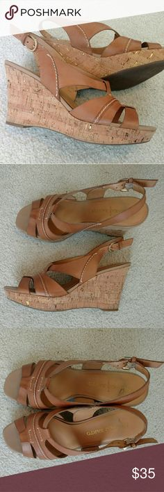 × Franco Sarto × Leather Cork Wedges The gold flecks in the cork really make these stand out! I HATE to part with these but they don't fit me now that I've gained weight. EUC, only worn a handful of times. Minor marks as pictured. Franco Sarto Shoes Wedges