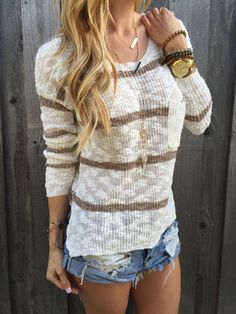 Khaki Stripe Sweater – Lola Jeannine