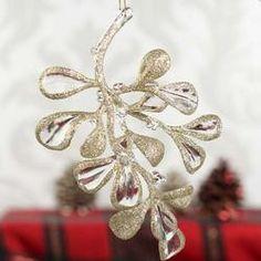 Acrylic Glitter Mistletoe Ornament