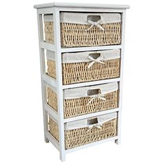 White 4 Draw Wicker Maize Drawer Storage Unit White Wood Wicker Drawer Unit