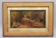 Superb-Antique-19c-Oil-Painting-of-Woodland-Path
