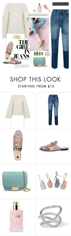 """""""The girl in jeans"""" by little-curly-juli ❤ liked on Polyvore featuring TIBI, STELLA McCARTNEY, Gucci, Victoria Beckham, Valentino, Jennifer Fisher, gucci, mules and patchwork"""