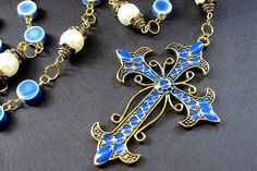 Catholic Rosary Handcrafted in Blue Ceramic Beads and by Gilliauna ON ETSY.