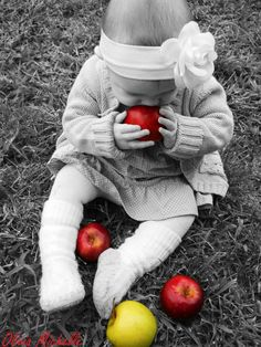 apple baby   love the black and white with splash of color!