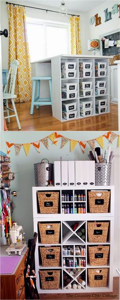 21 great ways to completely organize your workshop or craft room: how to best utilize pegboards, shelving, closet and wall spaces, and much more! - A Piece Of Rainbow Craft Room Shelves, Craft Room Storage, Craft Organization, Closet Shelves, Craft Rooms, Table Shelves, Paper Storage, Organizing Ideas, New Crafts