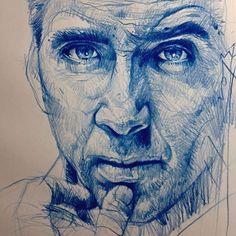 Nicholas Cage - Amazing pencil work by Alvin Chong Portrait Sketches, Pencil Portrait, Portrait Art, Drawing Sketches, Pencil Drawings, My Drawings, Sketching, Beautiful Sketches, Color Pencil Art