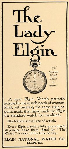 1907 Ad Lady Elgin America's Smallest Pocket Watch