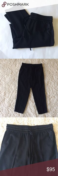 NWT ANN TAYLOR Black tuxedo striped Loose Pants New with tags. Black pants with black satin tuxedo stripe downs sides. Elastic waistband with drawstring. Ann Taylor Pants