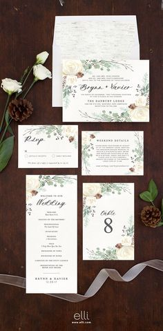 Rustic Botanical wedding invitation suite perfect for winter weddings.