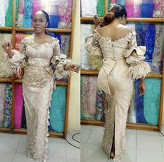 Champagne Long Sleeve Mermaid Evening Dresses 2019 Glamorous Aso Ebi Styles Floral Feather Lace Plus Size Off Shoulder Prom Gowns at Diyanu Aso Ebi Lace Styles, Lace Gown Styles, African Lace Styles, African Lace Dresses, African Dresses For Women, African Attire, African Fashion Ankara, Latest African Fashion Dresses, African Print Fashion