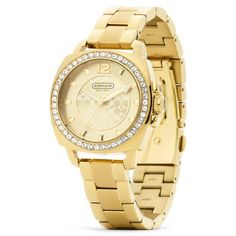Coach Mini Boyfriend Gold Plated Crystal Bracelet Watch ($278) found on Polyvore