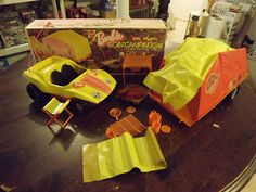 Vintage 1970's Barbie Going Camping Set with Brezzy Buggy and Tent Trailer Box | eBay