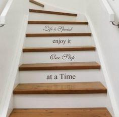 Decoración de escalera con papel pintado