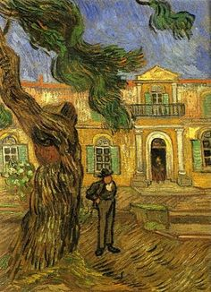 Pine Trees with Figure in the Garden of Saint-Paul Hospital  - Vincent van Gogh - Completion Date: 1889