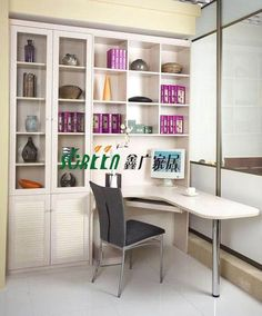 Modern wooden bookcase with desk - China bookcase with desk Wooden Bookcase, Built In Bookcase, Bookshelves, Home Office Space, Home Office Design, Office Desk, L Shaped Desk, Office Organization, New Homes