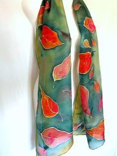 Grüne Seide Schal Hand bemalte Seide Schal Blätter von silkshop