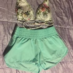 Shorts Mint colored xhilaration shorts size smallbikini top is just an example of how cute it looks together Xhilaration Shorts
