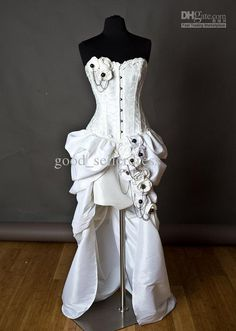 steampunk Corset Wedding Dresses | Wholesale - Embroidery Ivory Steampunk Burlesque Corset Wedding Gown ...