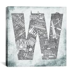 """W is for Washington DC."" Typography talent Sasha (www.icanvas.com) captures the most iconic and charming characteristics of your favorite city in this large gallery-wrapped canvas. No matter where you call home, this print lets everyone know where your heart is. $125.00"