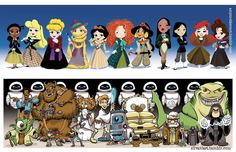 Disney princesses at the doctors and pixar as starwars
