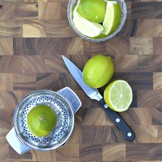 Two-piece juicer in modern stainless combines the classic reamer top with strainer feature and double-handled base with pour spout. Sized for lemons, limes, oranges and small grapefruit.