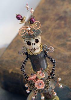 Handmade Art Doll Mixed Media Sculpture Skeleton Day of the Dead Figure Halloween Skeletons, Halloween Art, Sugar Skull Art, Sugar Skulls, Day Of The Dead Art, Mixed Media Sculpture, Skeleton Art, Mexican Folk Art, Handmade Art