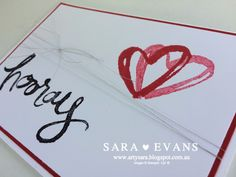 Sara Evans I Watercolor Words Engagement Card - Click on the photo to see more of Sara's designs #stampinup #watercolorwords #saraevans