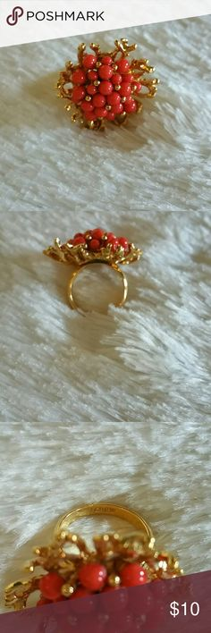 J Crew Cocktail Ring Coral themed ring by J Crew. Gold tone non adjustable. Size 6 NWOT J. Crew Jewelry Rings
