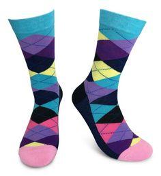 Men's Haberdashery Dress Socks ~ Mustache These Socks ~ Fun, Colorful & Funky Groomsmen Socks, Argyle Socks, Dress Socks, Cool Socks, Haberdashery, Color Patterns, Pairs, Turquoise, Yellow