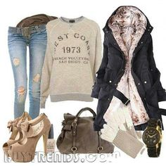 Love this comfy winter outfit