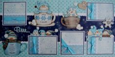 girls sports scrapbook pages | WINTER - BRRRR SNOW Girl Boy Premade Scrapbook Pages w/ Paper Piecings ...