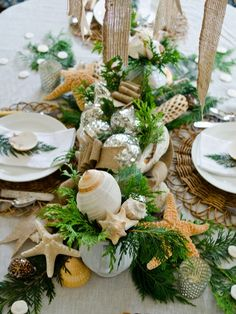 Coastal Christmas tablescape  http://missmustardseed.com/2012/11/some-of-my-favorites/