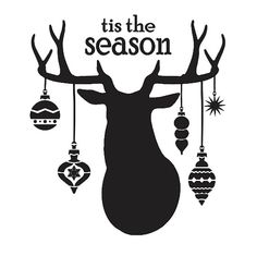 "Christmas/Holiday STENCIL**tis the season with deer head & ornaments** 12""x12"" for Painting Signs, Fabric, Canvas,Airbrush, Crafts, Wall Art"