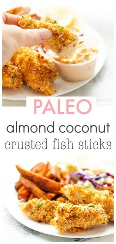These almond coconut crusted fish sticks are so much healthier and tastier than packaged varieties since the crust is made from almond flour and unsweetened coconut. Plus they take less than minutes to prepare so they make the perfect easy weeknight meal! Paleo Fish Recipes, Almond Recipes, Seafood Recipes, Cooking Recipes, Seafood Meals, Dinner Recipes, Healthy Sweet Snacks, Healthy Breakfast Recipes, Protein Snacks
