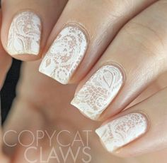 White lace stamping nail art using uberchic Love & Marriage plate ... would look great on a bride / wedding nails