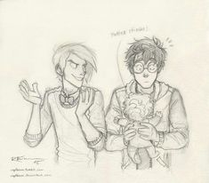 Draco, Teddy and Potter. Letting Draco be the babysitter might have been a stupid idea… XD by captbexx Harry Potter Drawings, Harry Potter Books, Harry Potter Fan Art, Harry Potter Universal, Harry Potter Fandom, Harry Potter World, Harry Potter Memes, Drarry, Dramione