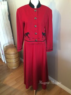 Red Western Wool Suit by BMW Designs Fort Worth Texas by VintageMagpieMaggie on Etsy
