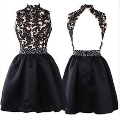 Short Black Prom Dress,Lace Homecoming Dress,Open Back Party Dress,Cute A Line Dress for Teens,Beading Prom Dress