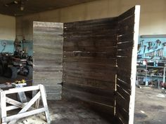Homemade backdrop - pallets & hinges