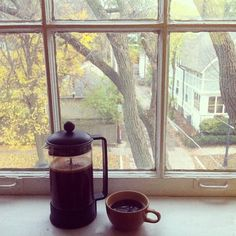 Fall. Coffee press. Window.