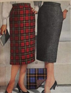 1959 pencil skirts in solid and plaid