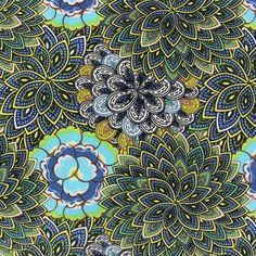 Tissu Sunrise Mandala Flower bleu x 10cm