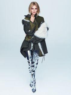 Model Rosie Huntington-Whiteley wears Balenciaga coat and silver boots for ELLE Brazil Magazine September 2016