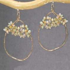 """Artisan Earrings Ethiopian Opals Sterling 14K Gold Filled Ovals 1-1/2"""" Made USA #Ovals"""